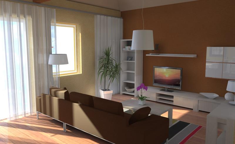 Návrh obývacej izby s jedálňou pohľad 1 v interiéri použitý