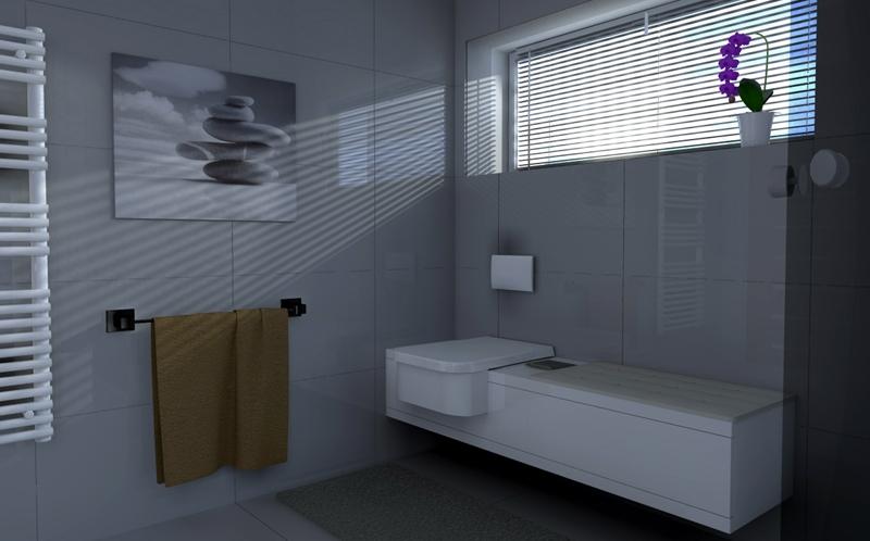 Moderná kúpeľňa grey wc osadené v nábytku sprchový kút