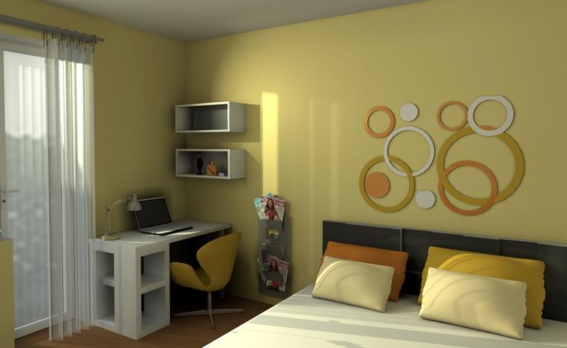 Návrh spálne. návrh študentskej izby pohľad 1. návrh